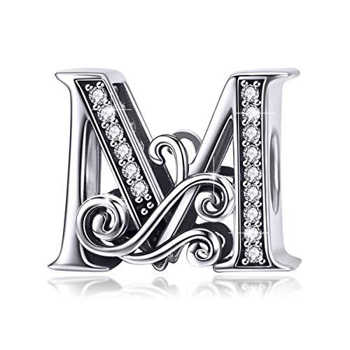 Bamoer Charm con lettera dell'alfabeto dalla A alla Z, per braccialetti europei e argento-placcato-base, colore: Lettera M., cod. GAC030-M+GW0043-S