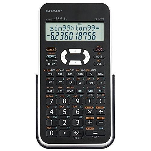 Sharp EL531XBWH Scientific Calculator with 2 Line Display,Black and White