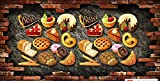 Papel tapiz Pared de ladrillo 3D pared vintage pizza foto restaurante restaurante de comida rápida carrito de helados tienda de postres cafetería cartel mural-250cmx175cm(LxA)
