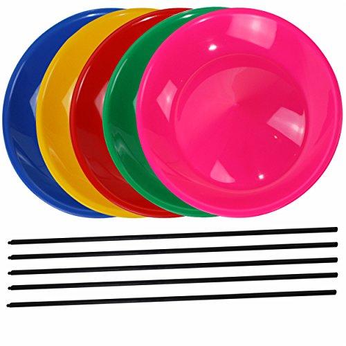 SchwabMarken 5 Jonglierteller mit 5 Kunststoffstäben, 3 oder 5 Jonglierteller mit Kunststoff- oder Holzstäben