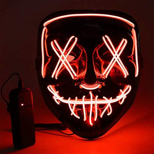 Máscara LED Halloween, Luminosa Craneo Esqueleto Mascaras, máscara de purga de Halloween con 3 modos de iluminación, para Navidad, Halloween, Cosplay, Grimace Festival, Fiesta Show y Mascarada