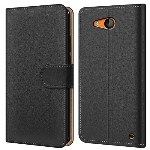 Conie BW19967 Basic Wallet Kompatibel mit Microsoft Lumia 640, Booklet PU Leder Hülle Tasche mit Kartenfächer & Aufstellfunktion für Lumia 640 Hülle Schwarz