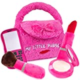 Plush Creations Plush Purse for Girls with 4 Plush Talking Play Pretend Handbag Accessories | A Makeup Brush, Red Lipstick, Compact Mirror, and Cell Phone | Great for Baby and Toddlers