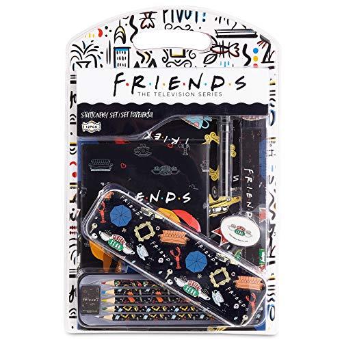 Friends Schreibwaren Set, Notizbuch A4 Radiergummi Etui Schule Buntstifte Set, Back to School Kit, Schulsachen Madchen Teenager, Burobedarf Tagebuch fur Erwachsene, Friends Fanartikel