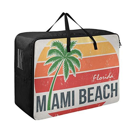 LIBILINGOO Garment Bag for Girls Miami Beach Florida Tee Palm Travel Clothes Storage Bag 70 X 50 X 28 cm Quilt Bedspread Pillow Luggage Moving Tote Garment Closet Storage Organizer