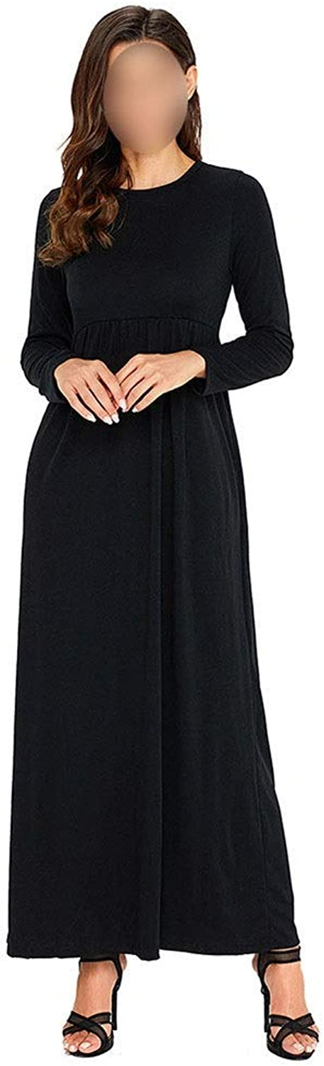 Women's Crew Neck Long Sleeve Long Maxi Dress With Pockets