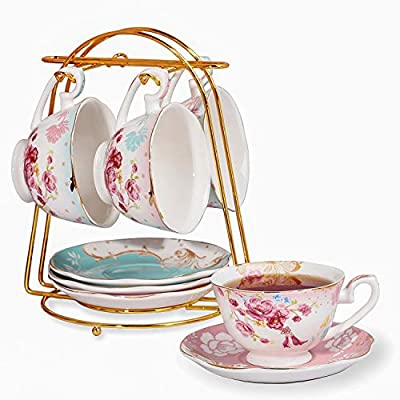 Emma's Espresso Cups with Saucers Set with Cup Holder 6 oz?Cups& Saucer Service for 4?Porcelain Teacup for Tea Party,Tea Gift Sets,Cup Set