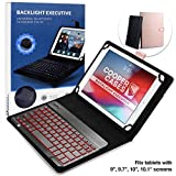 Universale 9', 10', 10.1' Tablet Custodia con Tastiera Retroilluminata, Cooper Backlight Executive Custodia a Libro per Il Trasporto, Tastiera Bluetooth QWERTY Removibile (Rosa)