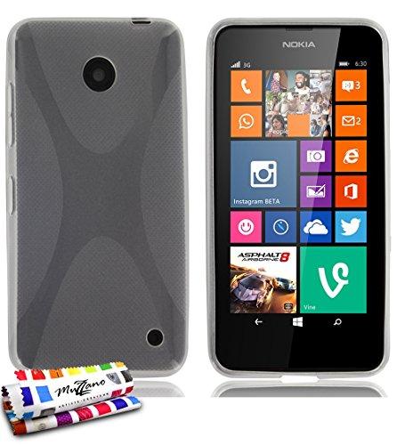 Muzzano–Cover morbida ultra sottile Nokia Lumia 630(Nero/Black) [il X Premium] [trasparente] di MUZZANO + Pennino e Panno Muzzano offerti–La protezione antiurto Ultime, protezione anti-urto elegante e duratura per il vostro Nokia Lumia 630(Nero/Black)