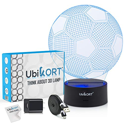3D Soccer Lamp for Boys and Girls, Great Soccer Gift, Soccer Goal Night Light Perfect Birthday Gift for Sport Fans, Helps Kids Sleep Better with a Glow Light, 8 Modes Color (6.5FT USB Cord)