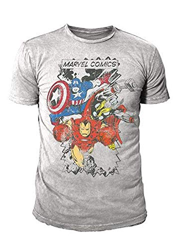 Marvel Comic - The Avengers Herren T-Shirt - Indie All Stars Grau (S-XL) (S)