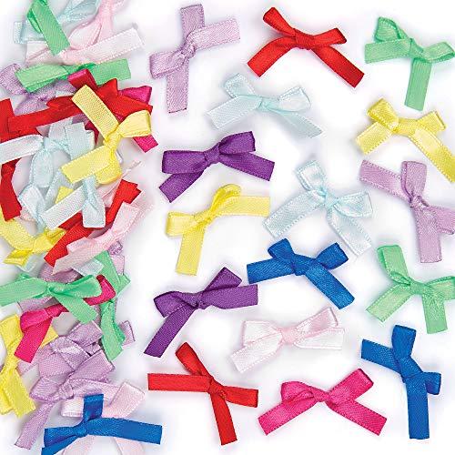 Baker Ross Selbstklebende Satinbänder mit Schleifen zum Basteln für Kinder und als Dekoration für Geschenke und Karten - 72 Stück, mehrfarbig, EV5902