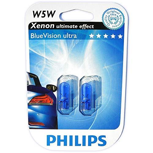 JOM Car Parts & Car Hifi GmbH 582024 W5W 12V 5W Glühlampen Set, Blue Vision 3400°K, T10, 2-er Packung mit 2 Leuchtmittel