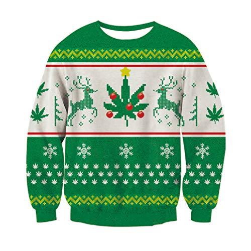 Christmas Sweater, RAISEVERNUnisex Traditionelle Klassische hässliche Weihnachten Xmas Pullover Sweatshirt Pullover für Frauen Männer X-Large