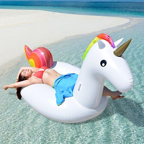 p:os Aufblasbare Einhorn Luftmatratze ca. 270 cm - Super Spaß für Kinder und Erwachsene - lustiges...