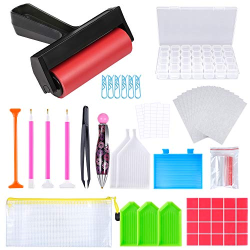 PP OPOUNT 82 Pieces 5D Diamond Painting Tools and Accessories Kits Including Diamond Embroidery Box, Roller, Cover Paper and Other Tools for Adults and Kids