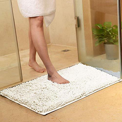 Falehgf 2Pcs Alfombrilla de baño Antideslizante Estera Absorbente Blanca Tela de Chenilla Alfombra de baño Suave...