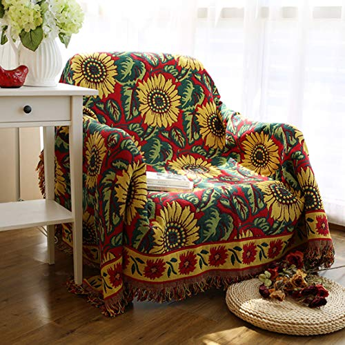 Sofa Throw Blanket with Tassels Cotton Dustproof Sofa Chair Cover Bohemian Style Armchair Bed Throws Blanket Sofa Cover Tablecloth Non-slip Sofa Cushion Sofa Towel Blanket for Couch Sofa Bed Travel