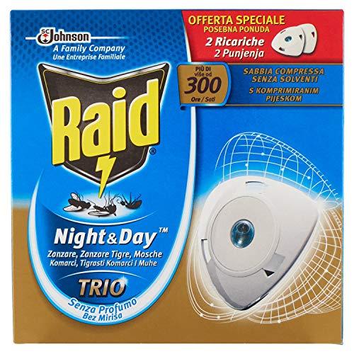 Raid Night & Day - Trío antimosquitos con arena comprimida, paquete de 2 recargas, sin perfume