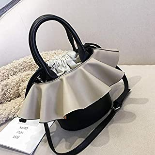 Adebie - Women Tote Bucket Bag 2019 Fashion New Quality PU Leather Women's Luxury Designer Handbag Contrast Color Shoulder Messenger Bags 19 X 14 X 18 cm Khaki []