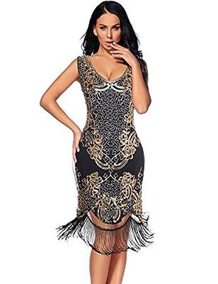 Women's 1920s Dress Sequin Beaded V Neck Tassels Hem Great Gatsby Cocktail Dress