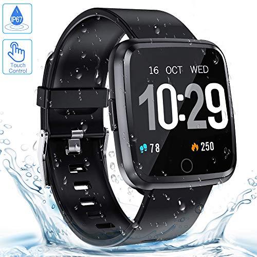Smartwatch, Zagzog Wasserdicht IP68 Bluetooth Smartwatch Pulsuhr Fitness Tracker Sportuhr mit Kamera Romte Schlafmonitor Kalorienzähler erfassen SMS Whatsapp Note Kompatibel für IOS Android
