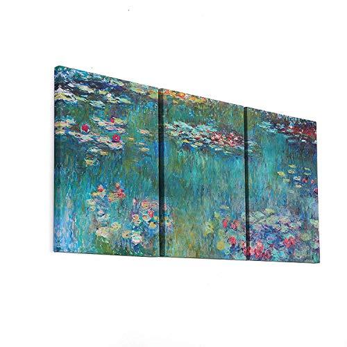 FajerminArt 3 Paneles Claude Monet Pintura Al óleo Réplicas De Lirios De Agua Prints sobre Lienzo,Pintura Arte Sala De Estar Adecuada, Dormitorio,Tamaño del Marco(50cmx70cmx3Paneles)(Marco De Madera)