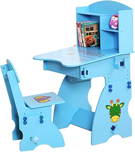 para barato Dfghbn Mesa de Estudio de Mesa para Niños Set de de de Mesa inclinable y Silla para Niños Juego de Mesa de Madera Art Set Altura de estación de Trabajo Ajustable (Color   azul)  ahorrar en el despacho