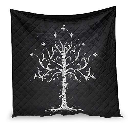YshChemiy Blanco Árbol de Gondor Algodón Colcha Cama Colcha Cómodo Colcha Mantas Diseñadas Ropa de cama Mujeres Hombres Blanco 230x280cm