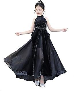 GFDGG キッズガールズBrithdayブラックウェディングパーティードレスプリンセスドレス (サイズ : 110)