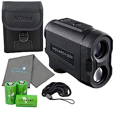 Nikon Monarch 2000 Laser Rangefinder Wide Angle - 16661 Bundle with 3 CR2 Batteries and a Lumintrail Cleaning Cloth from Nikonxx