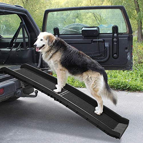 """COZIWOW 62""""L Heavy Duty Portable Folding Dog Ramps for Large Dogs SUV, Truck Car Ramp Stairs Step Ladder for Pet, Non-Slip Design for Pool Boat"""