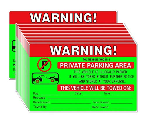 Parking Violation Stickers for Cars - 50 Vehicle is Illegally Parked Tow Stickers - Tow Warning Private Parking Violation Stickers - Fluorescent Stickers - 8 X 5 Inches