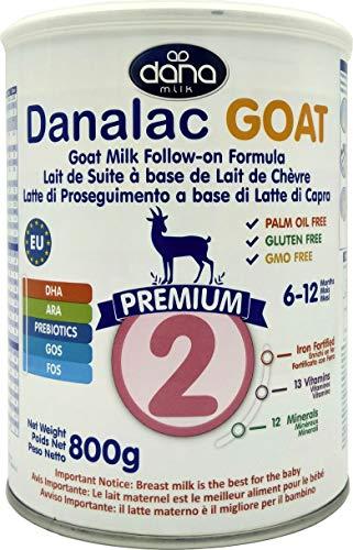 Danalac Premium Lait de Bébé en Poudre à Base de Lait de Chèvre 2ème Age pour Nourrissons/Bébés Agés de 6 à 12 Mois Formule EU-2020 800 g