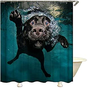 "Customer reviews QEES Art Shower Curtain Black Funny Labrador Dog Swimming in the Water Theme Bathroom Decor with Free Hooks Waterproof Bath Curtain YLB11 (59"" W*71"" H, Dog):Ukcustomizer"