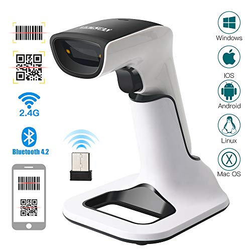 Newscan 2D Bluetooth Barcode Scanner Wireless 3-in-1 Handfree Scanners Rechargeable 1D and 2D Bar Code/QR Code Reader with USB Receiver for Store, Supermarket, Warehouse