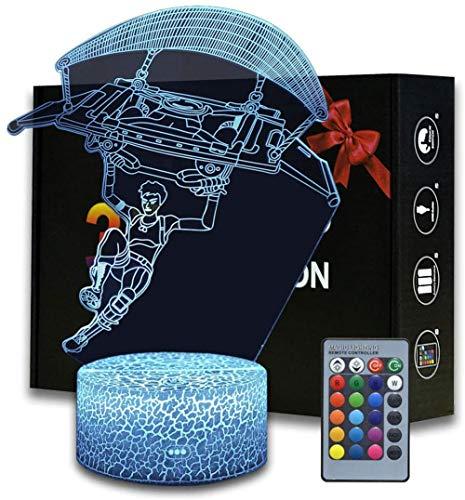 3D ilusión Battle Royale Luz nocturna, lámpara de mesa con control remoto para dormitorio, lámpara creativa de escritorio para cumpleaños FORTNITE - paracaidismo