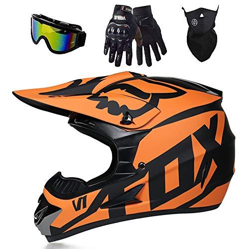 ESASAM Fox - Casco de motocross, carcasa de ABS, norma de seguridad ECE 22.05, para bicicleta de montaña, ATV, BMX, Downhill Offroad, motocross, con guantes, máscara (naranja, M)