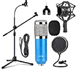 BM800 Studio Condenser Microphone Kit Set with Adjustable MIC Stand GH-208 with Mobile
