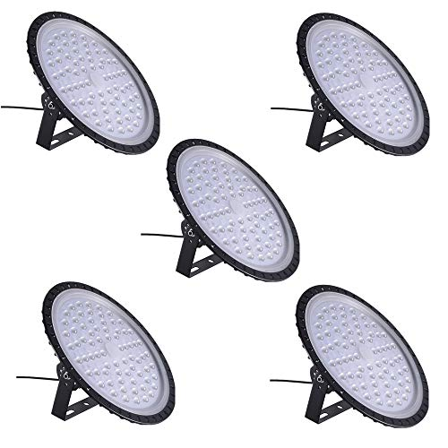 300W UFO LED High Bay Light Factory Warehouse Industrial Lighting 30000 Lumen 6000-6500K IP54 Warehouse LED Lights- High Bay LED Lights- Commercial Bay Lighting for Garage Factory Workshop Gym (5pcs)