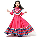 Mexican Girl Senorita Costume Child Traditional Jalisco Dresses Day of The Dead Party Costume Folklorico Dance Dress (Red, M)
