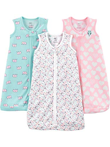 Simple Joys by Carter's Girls' 3-Pack Cotton Sleevless Sleepbag, Hearts/Floral, 0-3 Months