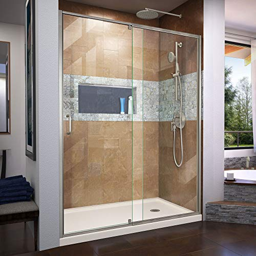 Flex 36 in. D x 60 in. W x 74 3/4 in. H Semi-Frameless Shower Door in Brushed Nickel with Right Drain Biscuit Base Kit - DreamLine DL-6225R-22-04