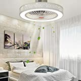 DNYSYSJ Acrylic Remote Control LED Lamp Round 3 Color 3 Wind Speed Dimmable Ceiling Fan Lighting 55CM Ceiling Lighting Fixture Flush Mount with Accessaries (Bamboo)