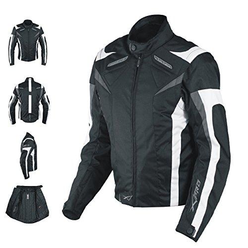 A-Pro Giacca Lady Donna Tessuto Cordura Moto Protezione Manica Staccabile Bianco M