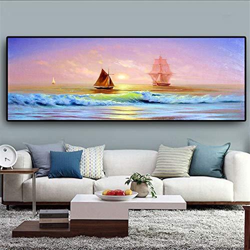UIOLK Mehrfarbige Kunstmalerei Kreative Ozean Segelschiff Landschaft Ölgemälde Leinwand Poster und Druckkunst in Jubiläumsgeschenk Weihnachten