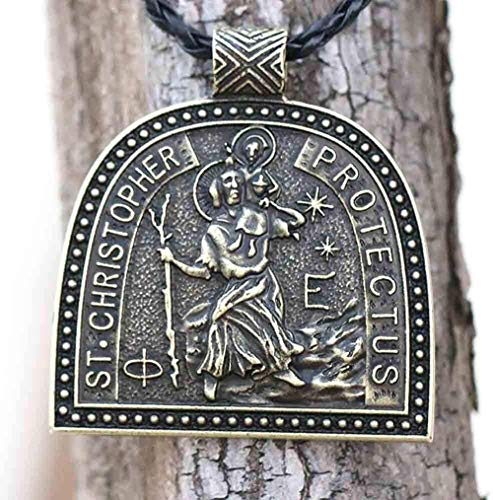 TYWZH Necklace Medallion Necklace Mens Heavy St Christopher Pendant Traveler Talisman Jesus Protection Jewelry Baptism Gifts