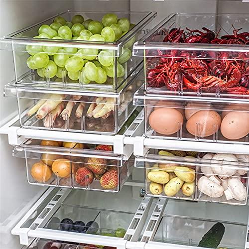 JIEGEGE Caja de Almacenamiento de refrigerador, Cocina Organizador Transparente Caja de Compartimiento Cajón de Cajón Frigorífico Recipientes (Size : 4 compartments)