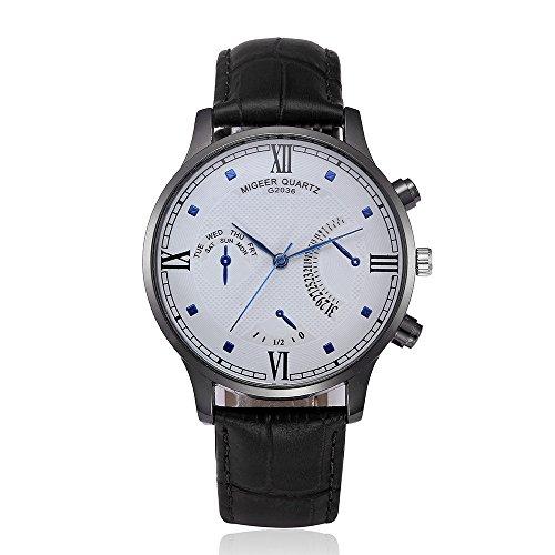 Herren Uhren, BBring MIGEER Männer Quarzuhr PU Leder Uhr High-End Business Watch Wochentag Anzeige Kalender Uhren (Schwarz)
