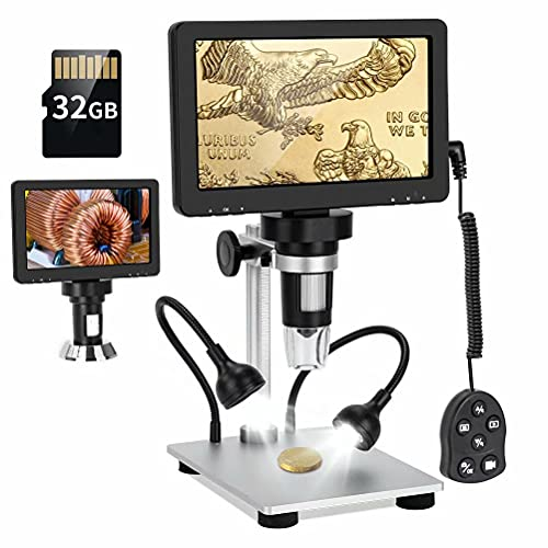 """YINDIA 7"""" LCD Digital Microscope with 32GB SD Card, 1080FHD USB Coin Microscope 50x-1200x Magnification with Wired Remote,10 LED Lights, 12MP Camera Microscopes for Kids Adults"""